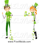 Clipart of a St Patricks Day Stick Boy and Girl with a Blank Board Sign by BNP Design Studio