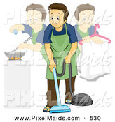 Clipart of a Stay at Home Dad Doing Multiple Chores During the Day by BNP Design Studio
