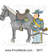 Clipart of a Stern Armed Union Soldier Standing Beside His Horse on a Battlefield by Djart