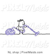 Clipart of a Stick Woman Using a Canister Vacuum to Clean the Floor by NL Shop