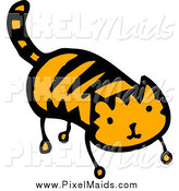 Clipart of a Striped Ginger Cat by Lineartestpilot
