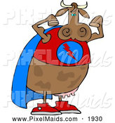 Clipart of a Strong Muscular Superhero Cow Wearing a Cape and Flexing Arm Muscles by Djart