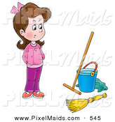 Clipart of a Stubborn Girl in Pink Clothes Looking at Cleaning Supplies by Alex Bannykh