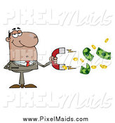 August 11th, 2014: Clipart of a Successful Black Businessman Collecting Cash with a Money Magnet by Hit Toon