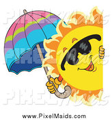 Clipart of a Summer Sun Holding an Umbrella While Looking Around a Sign by Visekart