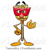 Clipart of a Superhero Broom Mascot Cartoon Character Wearing a Red Mask over His Face by Toons4Biz