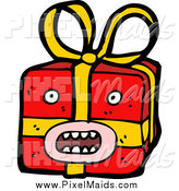 Clipart of a Surprised Christmas Gift by Lineartestpilot
