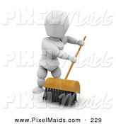 Clipart of a Sweeping White Character Man Cleaning a Floor with a Push Broom with Black Bristles by KJ Pargeter