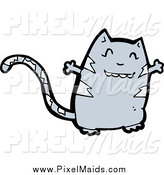 Clipart of a Sweet Gray Cat with Open Arms by Lineartestpilot