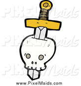 Clipart of a Sword Through a Skull by Lineartestpilot