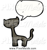 Clipart of a Talking Brown Cat by Lineartestpilot