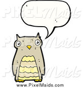 Clipart of a Talking Brown Owl by Lineartestpilot