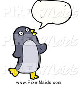 Clipart of a Talking Penguin Bird by Lineartestpilot