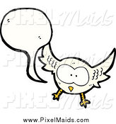 Clipart of a Talking White Owl by Lineartestpilot