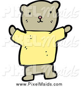 Clipart of a Teddy Bear in a Yellow Shirt by Lineartestpilot