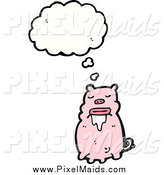 Clipart of a Thinking and Drooling Pig by Lineartestpilot