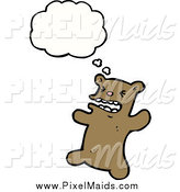 Clipart of a Thinking Angry Brown Bear by Lineartestpilot
