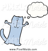 Clipart of a Thinking Blue Cat by Lineartestpilot
