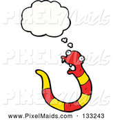 Clipart of a Thinking Red and Yellow Snake by Lineartestpilot