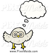 Clipart of a Thinking White Owl by Lineartestpilot