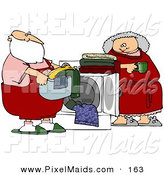 Clipart of a Tired Claus Leaning Against a Dryer and Watching Santa Do the Laundry by Djart