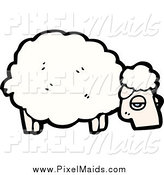 Clipart of a Tired Sheep by Lineartestpilot