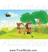 Clipart of a Toucan Flying over Children Chasing Bugs by Graphics RF