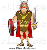 Clipart of a Tough Red Haired Viking Warrior with a Sword and Shield by Cartoon Solutions