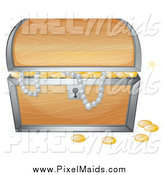 Clipart of a Treasure Chest with Riches and Pearls by Graphics RF