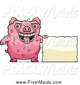 Clipart of a Ugly Drooling Pig with a Sign by Cory Thoman