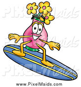 Clipart of a Vase of Flowers Character Surfing on a Blue and Yellow Surfboard by Toons4Biz
