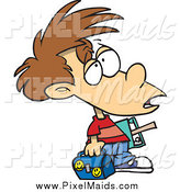 Clipart of a Victimized Caucasian Boy with Something on His Forehead by Toonaday