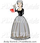 Clipart of a Victorian Maid Woman Using a Feather Duster by Andy Nortnik