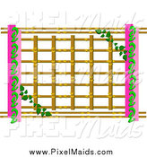 Clipart of a Vine Growing on Lattice with Pink by