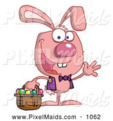 Clipart of a Waving Pink Easter Bunny with a Basket by Hit Toon