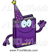 Clipart of a Waving Purple Magic Spell Book Mascot by Cory Thoman