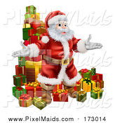 Clipart of a Welcoming Christmas Santa Claus and Stack of Presents by AtStockIllustration