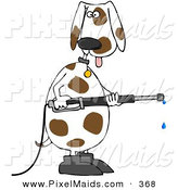 Clipart of a White and Brown Spotted Pet Dog Wearing Boots, Standing up on His Hind Legs and Operating a Power Washer by Djart