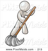 Clipart of a White Businessman Wearing a Tie, Using a Mop While Mopping a Hard Floor to Clean up a Mess or Spill by Leo Blanchette
