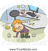 Clipart of a White Businesswoman Kneeling Under Her Desk and Cleaning up Her Office Space by BNP Design Studio