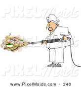 Clipart of a White Chef Spraying Sandwiches and Foods out of a Pressure Washer by Djart