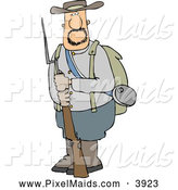 Clipart of a White Confederate Army Soldier Holding a Rifle with a Bayonet by Djart