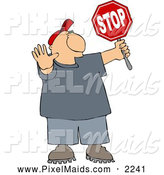 Clipart of a White Cross Guard Man Stopping Traffic so Pedestrians Can Cross the Street by Djart