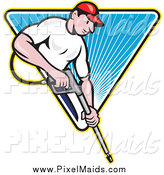 Clipart of a White Male Pressure Washer Worker over a Blue Triangle of Rays by Patrimonio