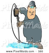 Clipart of a White Man Cleaning a Floor with a Pressure Washer by Djart