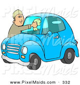 Clipart of a White Man Leaning over the Hood of His Cute Blue Compact Car to Clean the Bug Guts off of His Dirty Windshield While Stopped at a Gas Station by Djart