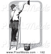 Clipart of a White Man Smiling and Standing on a Ladder, Cleaning off a Blank Billboard, Preparing for the Next Advertisement by Eugene