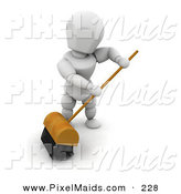 Clipart of a White Man Sweeping a Floor with a Big Push Broom with Black Bristles by KJ Pargeter