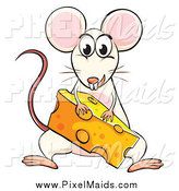 Clipart of a White Mouse with a Cheese Wedge by Graphics RF