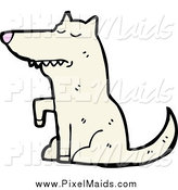 Clipart of a White Wolf Sitting and Lifting a Paw by Lineartestpilot
